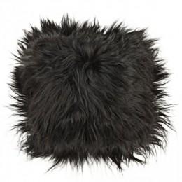 Sedák, islandská ovce, 37x37 cm, dlouhý vlas, černý