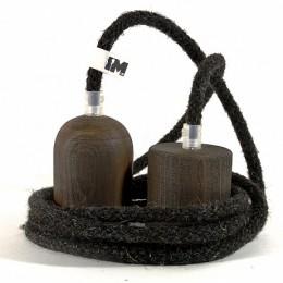 Tmavé dřevo a vlna-závěsná žárovka