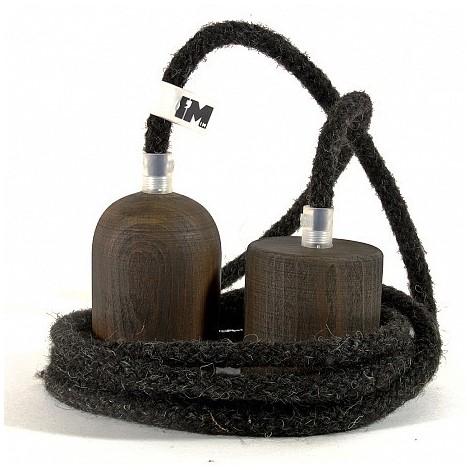 IMINDESIGN Tmavé dřevo a vlna-závěsná žárovka