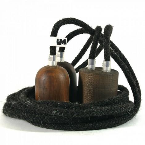 IMINDESIGN Tmavé dřevo a vlna- 2 závěsné žárovky