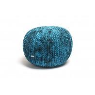 Justin Design Pletený puf velký melírovaný tyrkys s černou