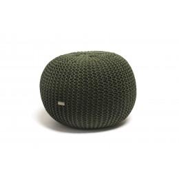 Justin Design Pletený puf střední tmavě zelený s černým puntíkem