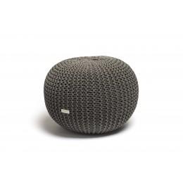 Justin Design Pletený puf malý tmavě šedý s černým proužkem