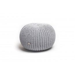 Justin Design Pletený puf střední melír světle šedá