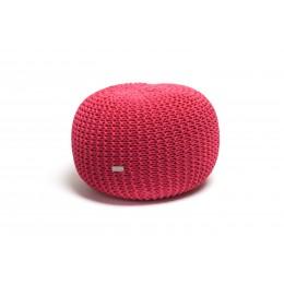 Justin Design Pletený puf střední tmavě růžový
