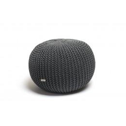 Justin Design Pletený puf malý šedý ocelový