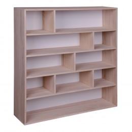 Knihovna PISA přírodní dřevo pavlovnie, bílá záda