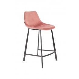 Barová židle FRANKY STOOL VELVET OLD PINK