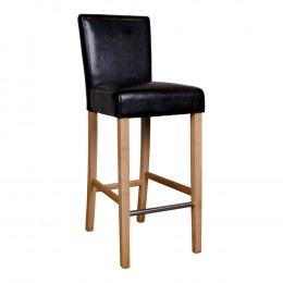 Barová židle BODEM tmavě šedá, přírodní nohy