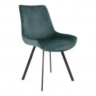 Jídelní židle DRAMMEN samet zelená, černá podnož