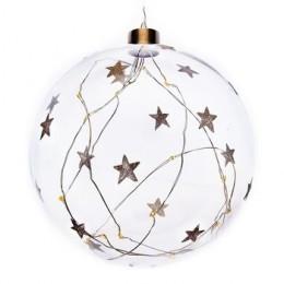 Koule sklěněná svítící s bílými hvězdami  LED