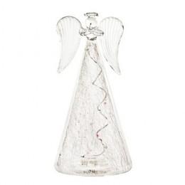 Svítící anděl skleněný 17 cm LED