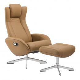Lounge Chair RIGA s podnožkou, světle šedá kůže