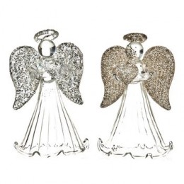 Anděl skleněný se zlatými křídly 6 cm