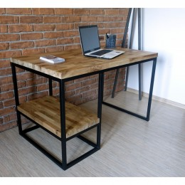 Psací stůl BIURKO 120 cm masiv dub a černý kov