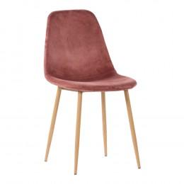 Jídelní židle STOCKHOLM růžová samet / černá podnož