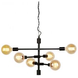 Závěsný lustr SEATTLE 6-ram. Ø 55 cm,černý kov