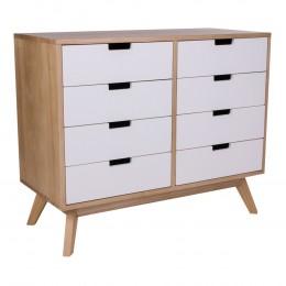 Komoda dřevěná přírodní MILANO s 8 zásuvkami