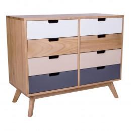 Komoda dřevěná barevná MILANO s 8 zásuvkami