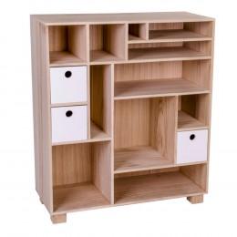 Dřevěná knihovna přírodní  House Nordic LIVORNO W