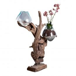 Váza na samorostu SAN MARINO,dřevo a 2 x sklo
