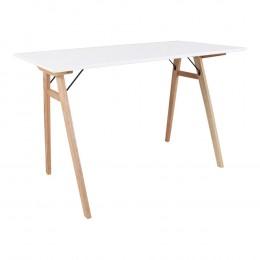Stůl VOJENS 120 cm bílý, přírodní podnož