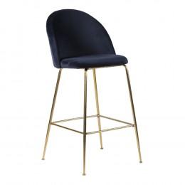 Barová židle LAUSANNE velvet modrá,nohy mosaz