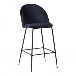 Barová židle LAUSANNE velvet modrá, nohy černé