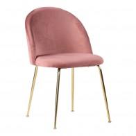 Jídelní židle GENEVE růžový samet,mosazné nohy