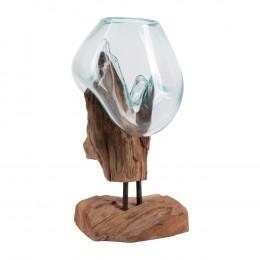 Váza na samorostu SAN MARINO kapka,dřevo a sklo
