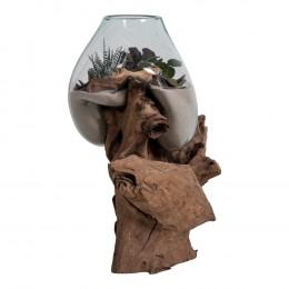 Váza na samorostu SAN MARINO kapka ,dřevo a sklo
