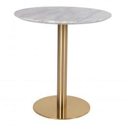 Jídelní stůl BOLZANO HOUSE NORDIC ø70x75cm,mosaz,mramor