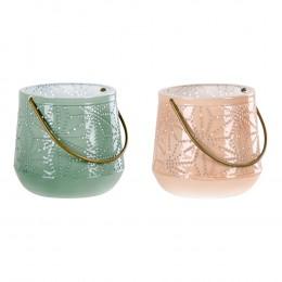Lucerna na svíčku NICE S set 2ks růžová a zelená,10,5 cm