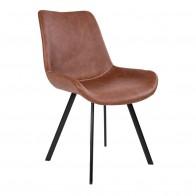 Jídelní židle DRAMMEN hnědá PU/ černá podnož