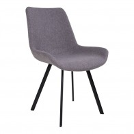 Jídelní židle DRAMMEN šedý textil / černá podnož