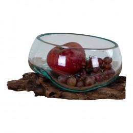 Mísa na ovoce na samorostu SAN MARINO kapka,dřevo a sklo