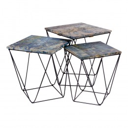 Odkládací stolek RANCHI HOUSE NORDIC 3 ks,hnědošedý