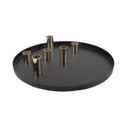 Svícen PLATE PRESENT TIME, černý/zlatý