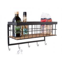 Závěsná kuchyňská police s háčky PRESENT TIME, černý kov