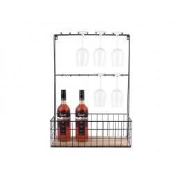Závěsná kuchyňská police na skleničky PRESENT TIME, černý kov