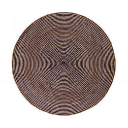 Kulatý koberec BOMBAY přírodní Ø150 cm ,tmavě modrá juta