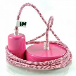 Lak 1-závěsná žárovka růžová, šňůra růžovobílá