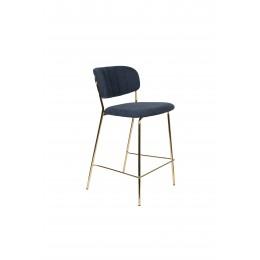 Barová židle s područkami JOLIEN ZUIVER tmavě modrá/nohy zlaté