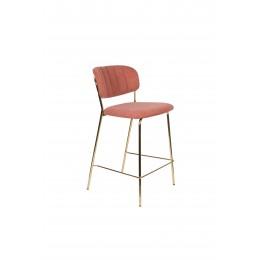 Barová židle s područkami JOLIEN ZUIVER růžová/nohy zlaté
