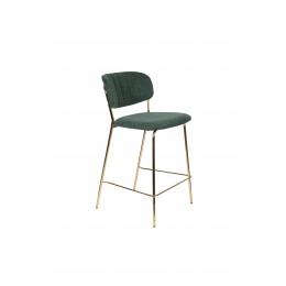 Barová židle s područkami JOLIEN ZUIVER zelená/nohy zlaté