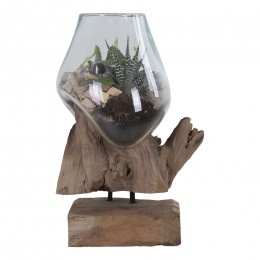 Váza na samorostu SAN MARINO kapka 25 cm,dřevo a sklo