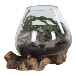 Váza na samorostu SAN MARINO kapka 20 cm,dřevo a sklo