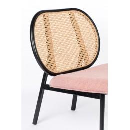 Lounge čalouněné křeslo s ratanovým opěradlem SPIKE ZUIVER,růžové