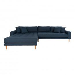 Rohová pohovka LIDO 290 cm,polyester tmavě modrý, pravý roh