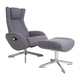 Lounge Chair RIGA s podnožkou, šedý látkový potah